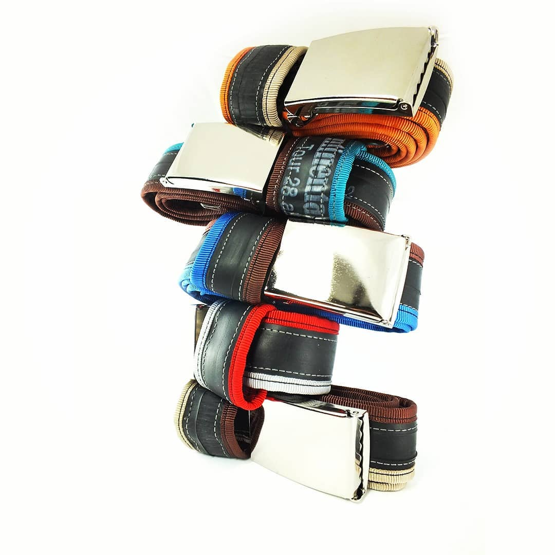 Tower of recycled belts, from bicycle tubes