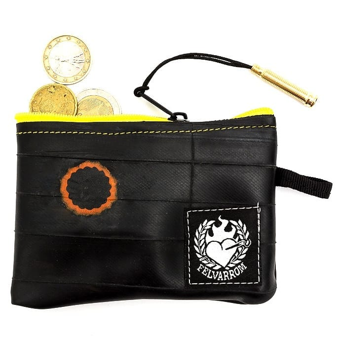 5 star review for our yellow bike purse - biketube wallet with coins