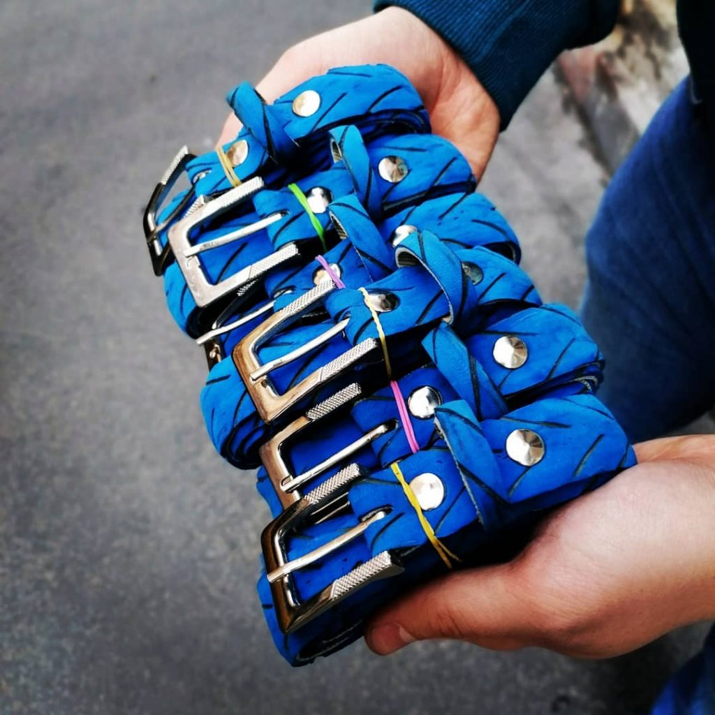 Blu recycled belts from upcycled bicycle tires - ready!