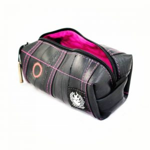 Pink toiletry bag for womag from recycled biketube by Felvarrom