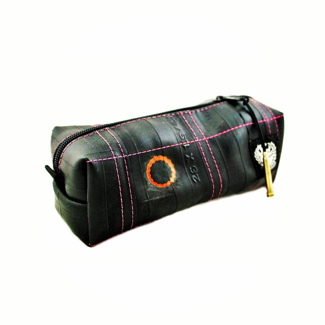 Pink toiletry bag for Valentine's Day from recycled bicycle Inner TUbe by Felvarrom