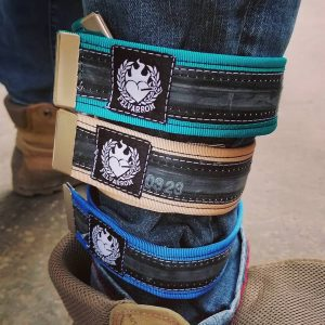 black trouser straps for cyclists, from recycled biketube