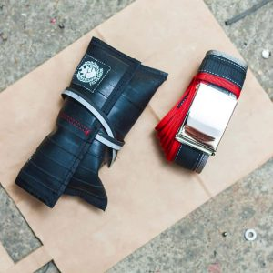 recycled inner tube belt red grey - review