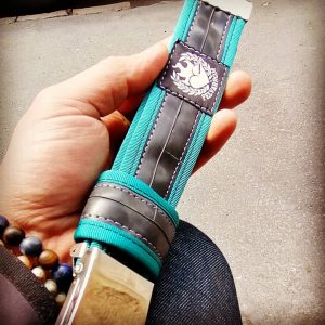 Mens belt from recycled bicylce tube in blue