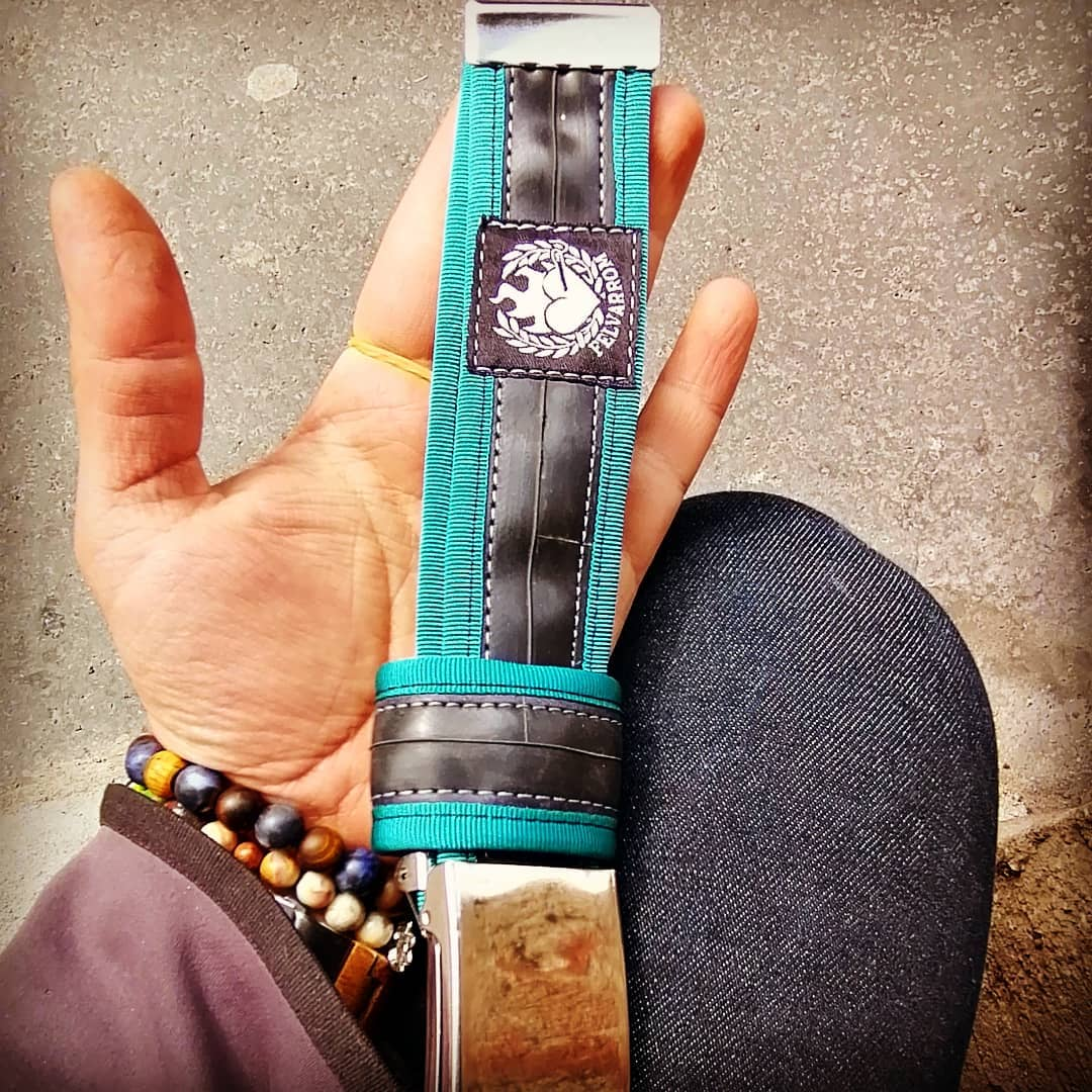 Recycled belt in turquoise blue - unique mens belt for request