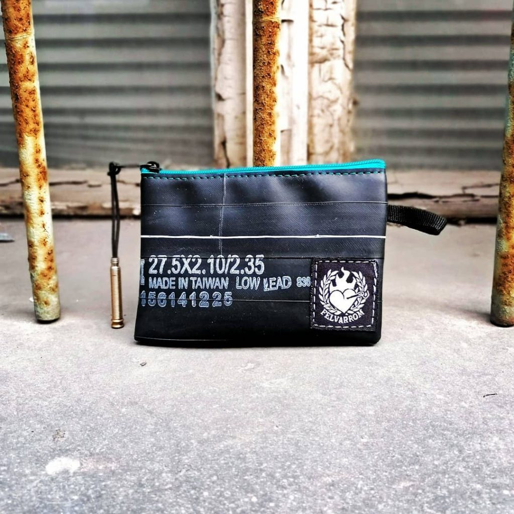 Turquoise blue recycled coin wallet from recycled bicycle tubes