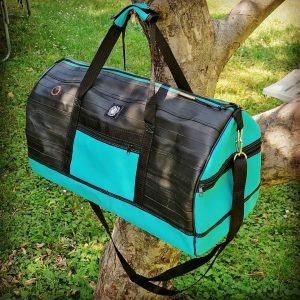 Sport bag from recycled bicycle tubes