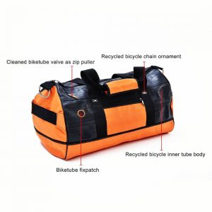 Orange sport bag from recycled bicycle tubes, features