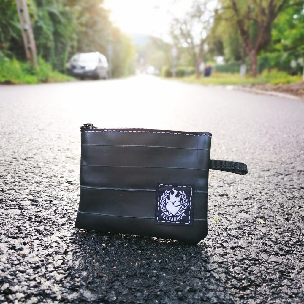 Black recycled coin purse