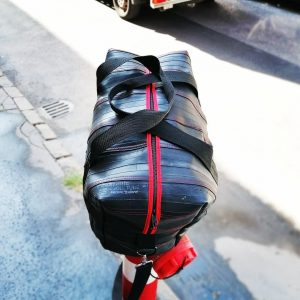 Custom sized bag from recycled bicycle tubes