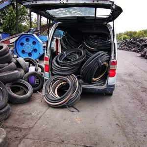 used bicycle tyres in the recycling facility